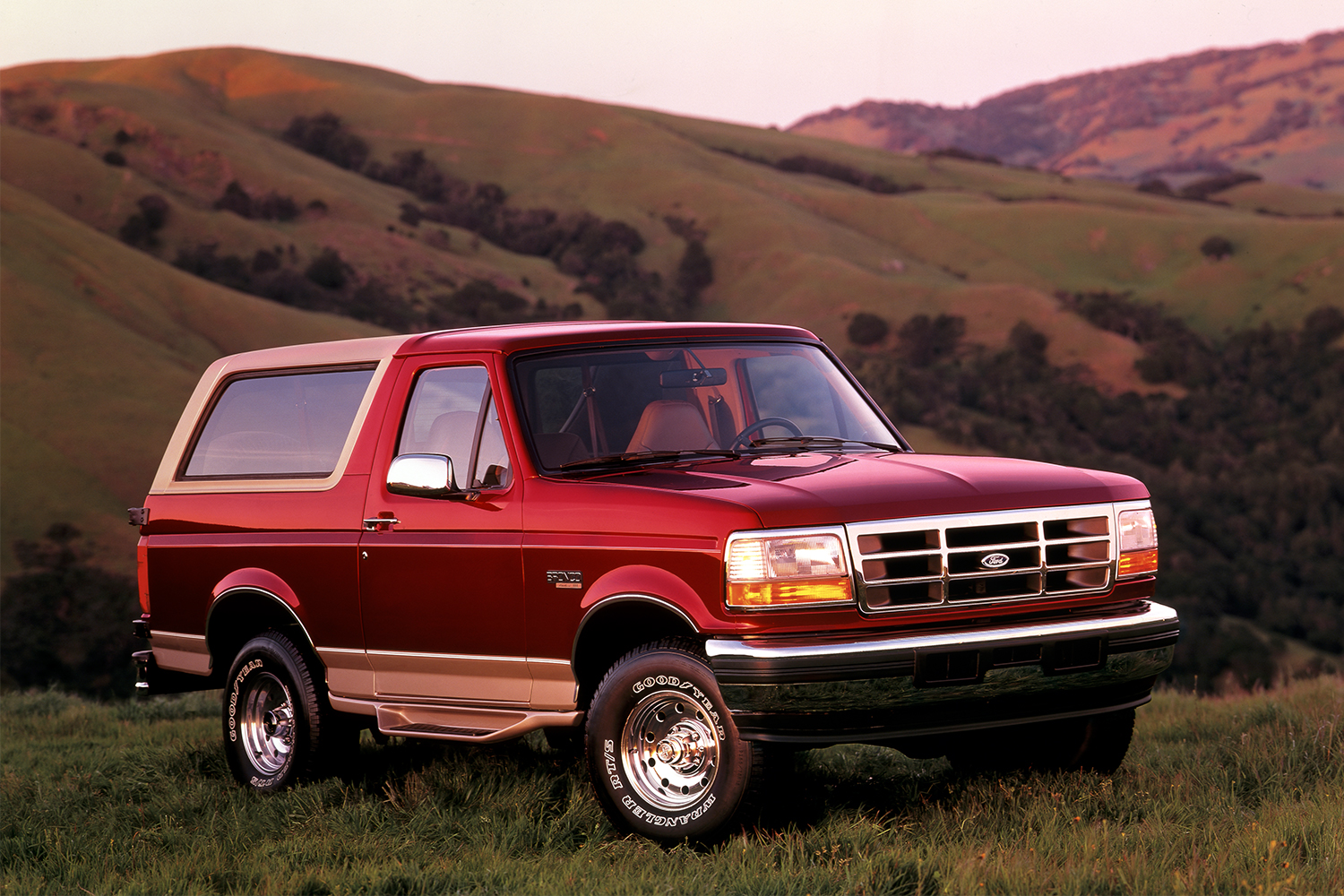 1996 Ford Bronco Eddie Bauer edition on a hillside