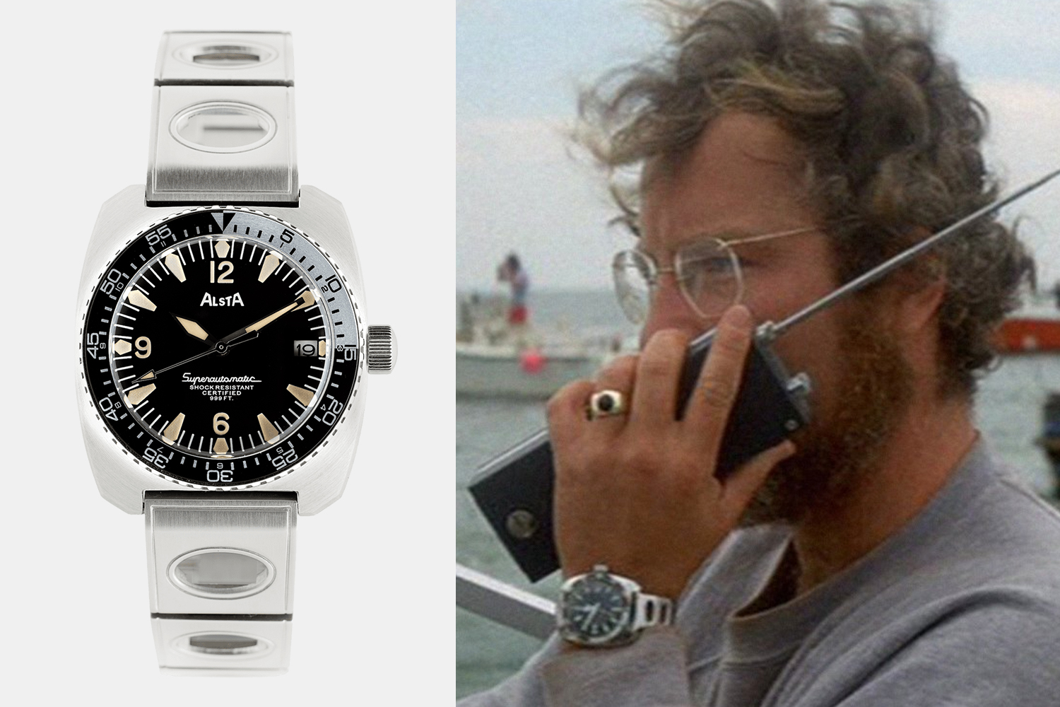 "The new Nautoscaph Superautomatic watch from Alsta which was originally worn by Richard Dreyfuss in ""Jaws"""
