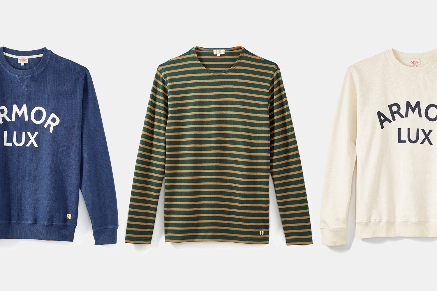 Armor-Lux Huckberry exclusive Breton stripe shirt and two sweatshirts
