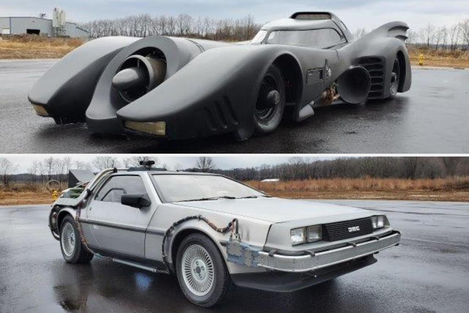Batmobile movie replica and DeLorean Back to the Future replica