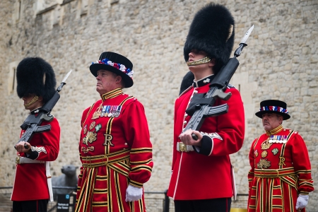 Beefeaters, or Yeoman Warders, and Guardsmen reopen the Tower of London on July 10, 2020