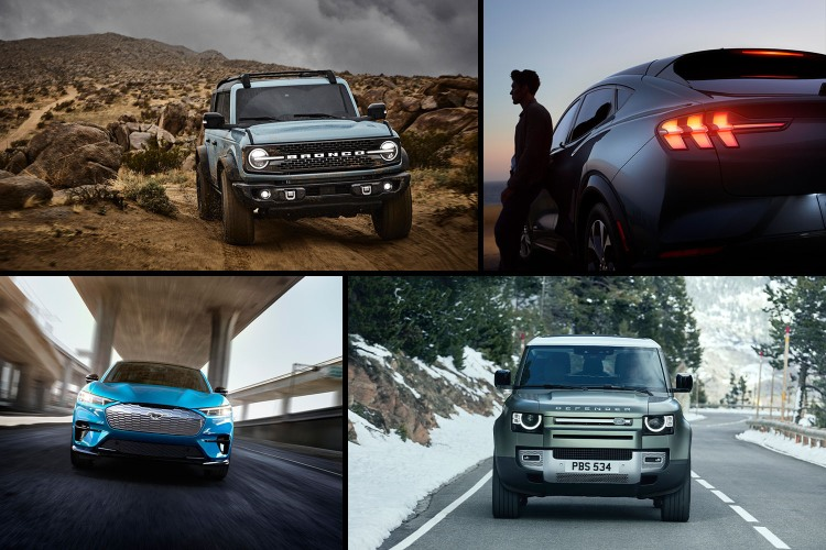 The 2021 Ford Bronco, 2021 Mustang Mach-E SUV and 2020 Land Rover Defender