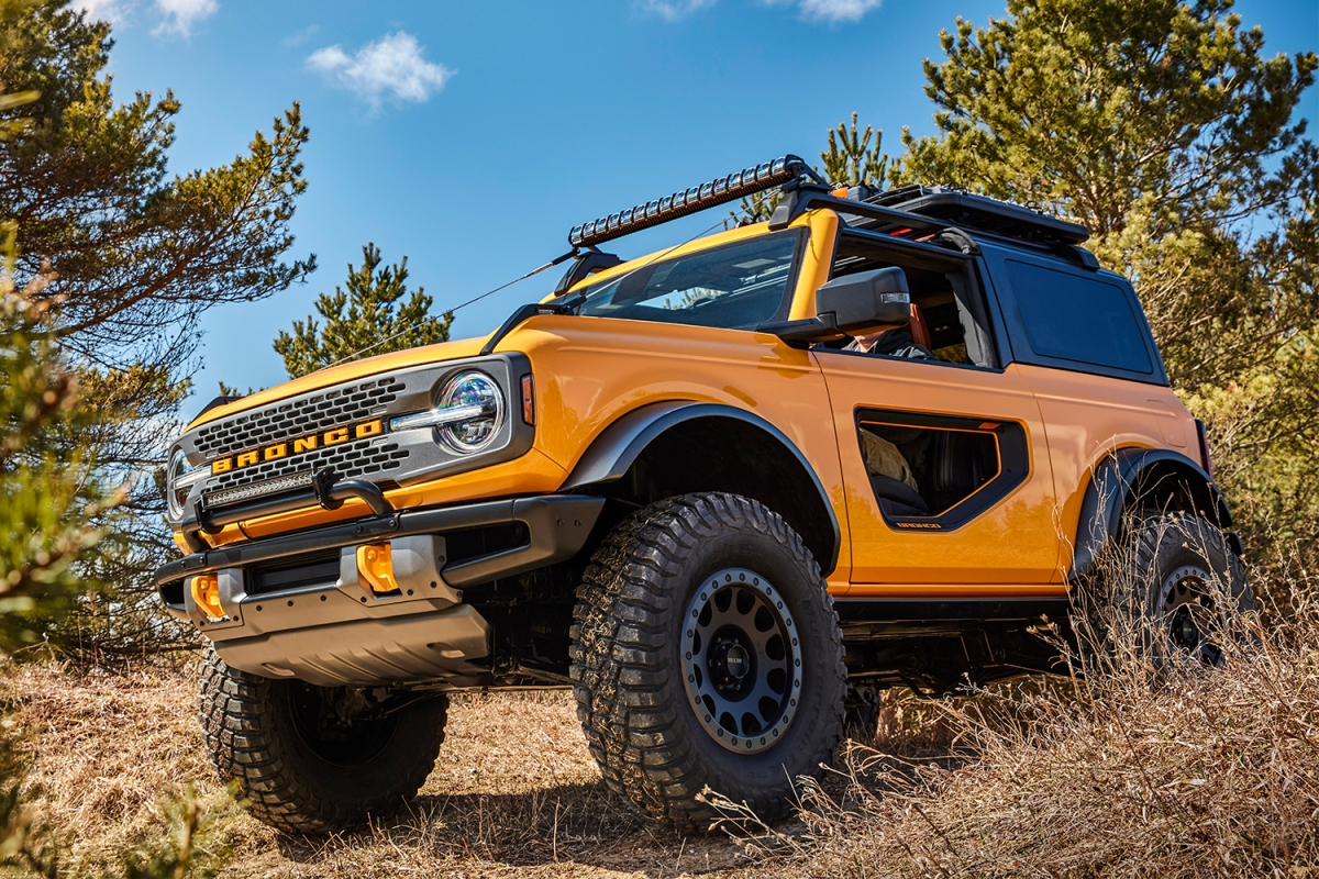 2021 Ford Bronco two-door in yellow