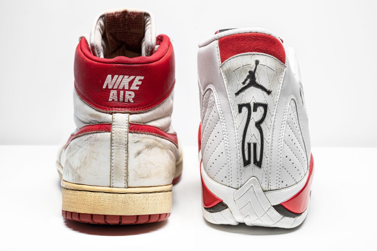 "Two unmatched Jordans that will be available at the The ""Original Air: Michael Jordan Game-Worn and Player Exclusive Sneaker Rarities"" auction."