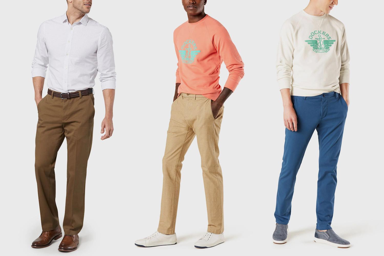 Dockers men's khaki pants in brown, tan and blue