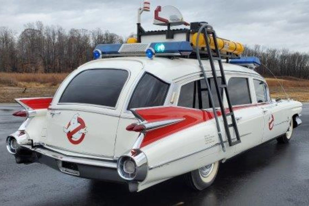 The back end of a Ghostbusters Ecto-1 movie replica vehicle