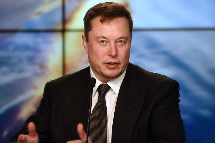 Elon Musk at a SpaceX press conference at the Kennedy Space Center