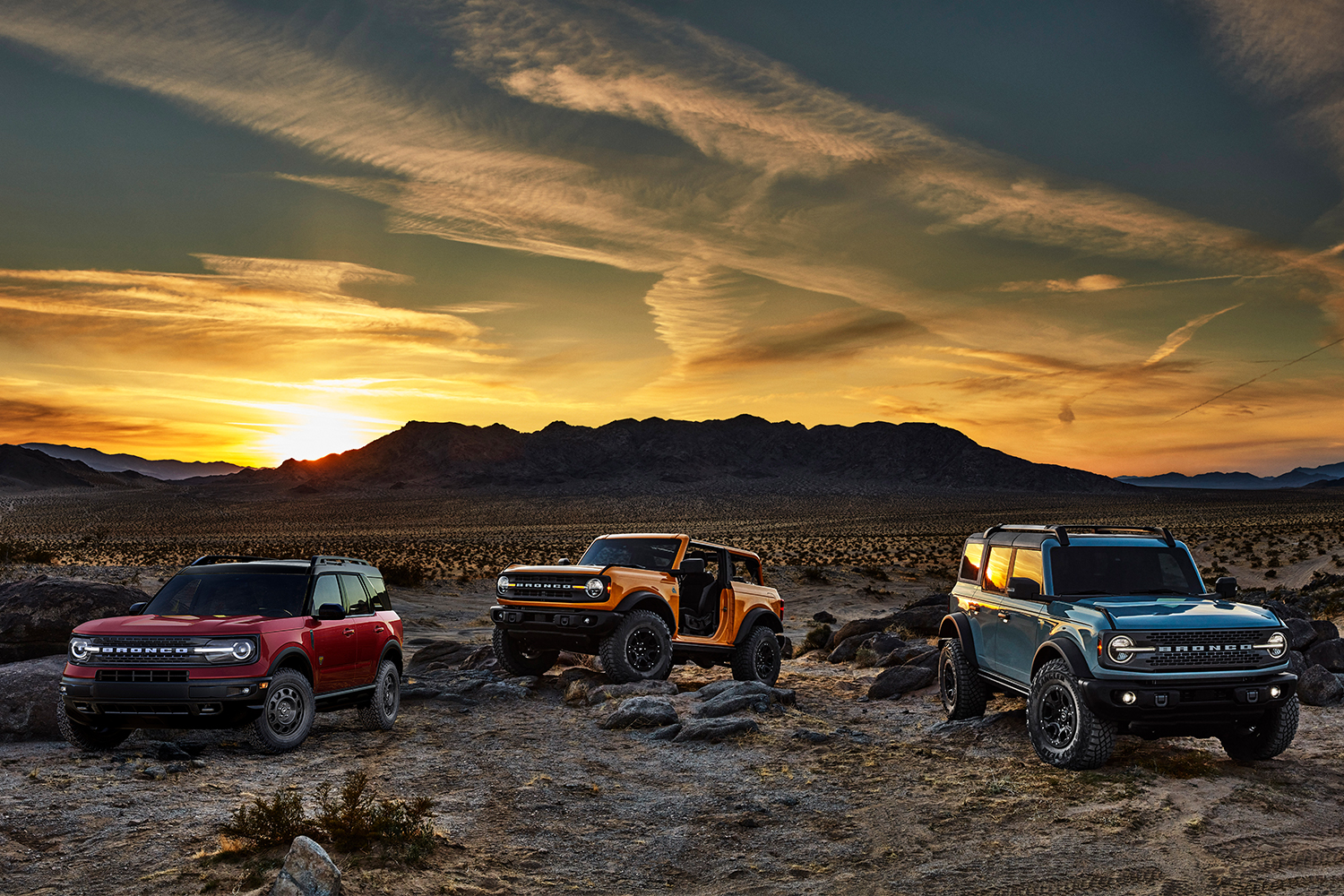 2021 Ford Bronco family, including the two-door, four-door and Sport models