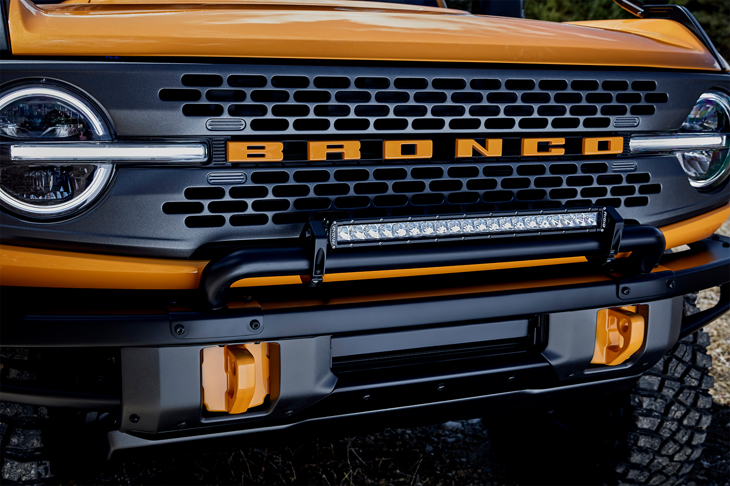 The grille of a 2021 Ford Bronco two-door off-road SUV