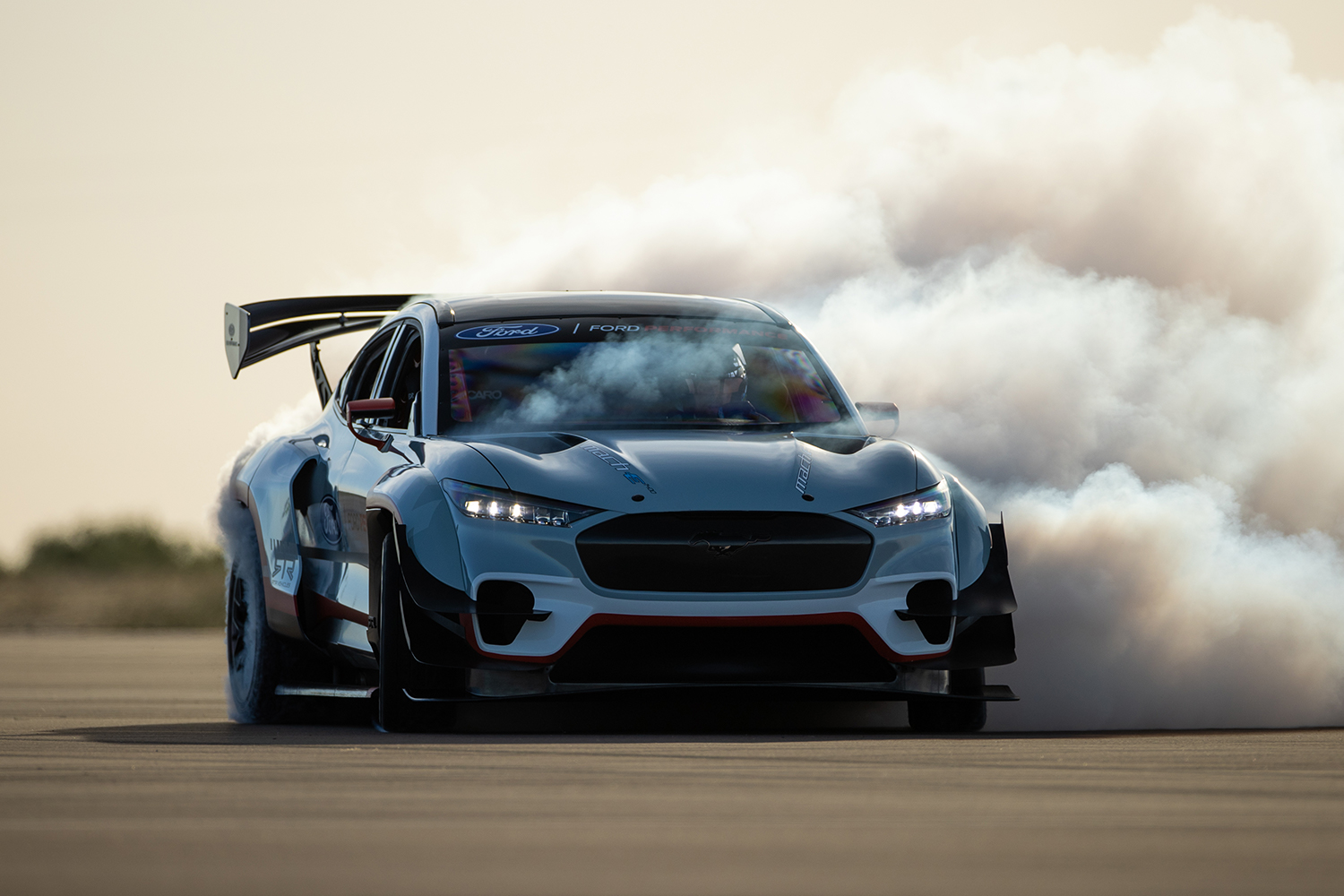 The one-off Ford Mustang Mach-E 1400 electric prototype drifting
