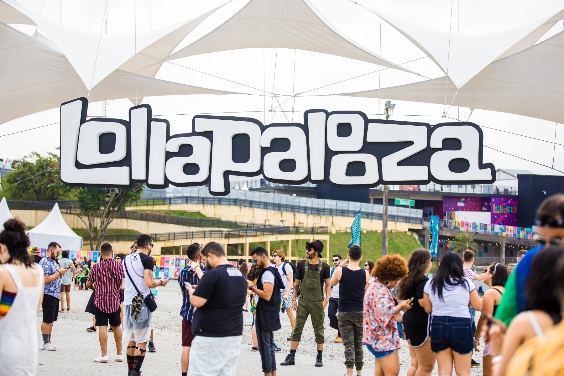 A general view of the Lollapalooza Logo entrance during the first day or day one of Lollapalooza Brazil Music Festival at Interlagos Racetrack on April 05, 2019 in Sao Paulo, Brazil. (Photo by Mauricio Santana/Getty Images)