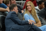 Atlanta owner Kelly Loeffler talks with General Manager Chris Sienko during the WNBA game between the Las Vegas Aces and the Atlanta Dream on September 5th, 2019.