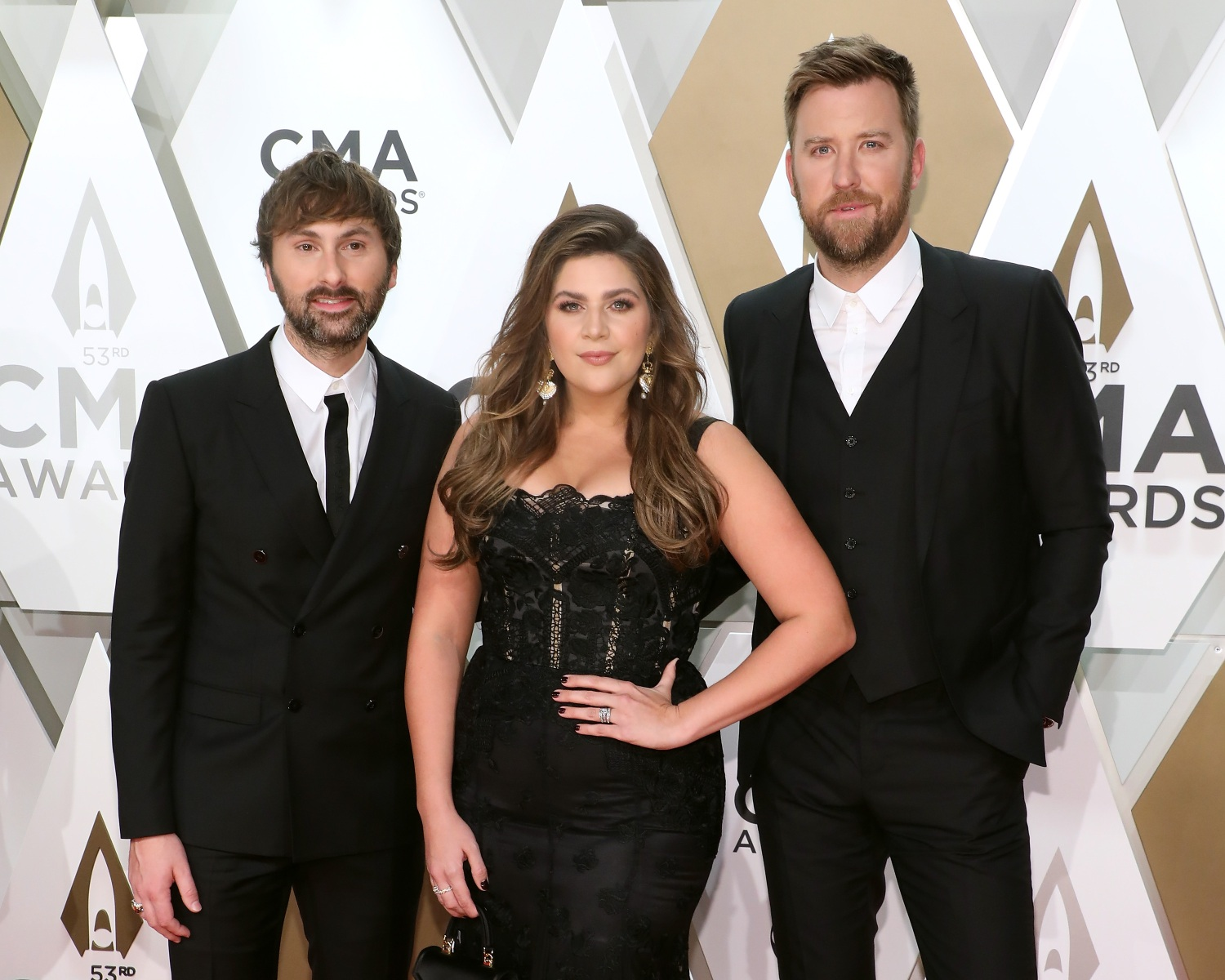 Dave Haywood, Hillary Scott, and Charles Kelley of Lady Antebellum attend the 53nd annual CMA Awards at Bridgestone Arena on November 13, 2019 in Nashville, Tennessee. (Photo by Taylor Hill/Getty Images)