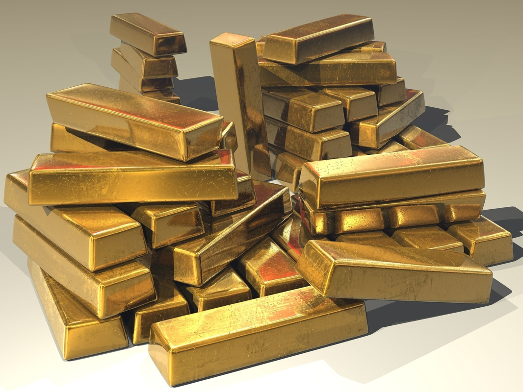 A pile of solid gold bars