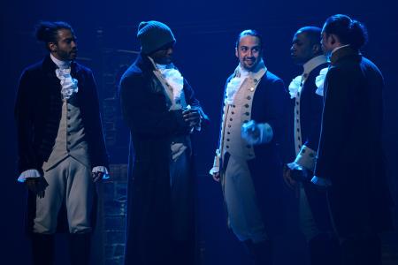 Hamilton musical cast members Lin-Manuel Miranda, Daveed Diggs, Leslie Odom Jr., Okieriete Onaodowan, and Anthony Ramos