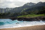 Hawaii beach and mountains