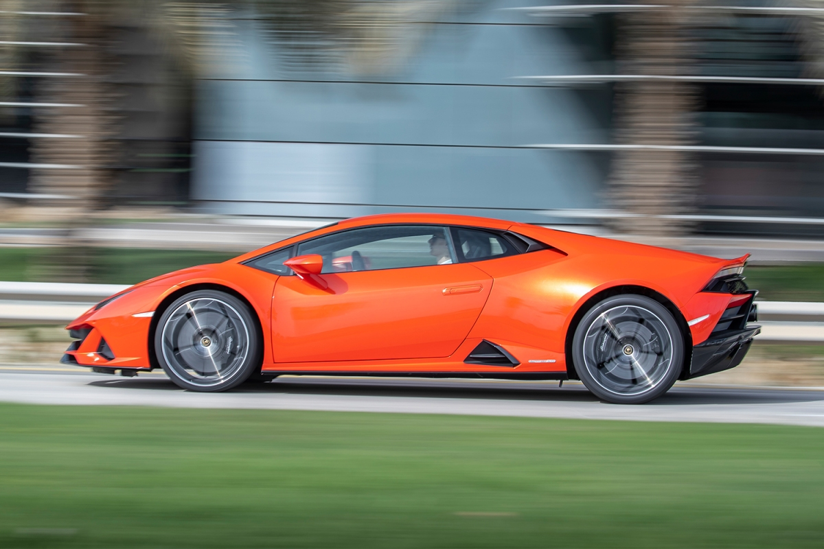 2021 Lamborghini Huracan EVO supercar in orange