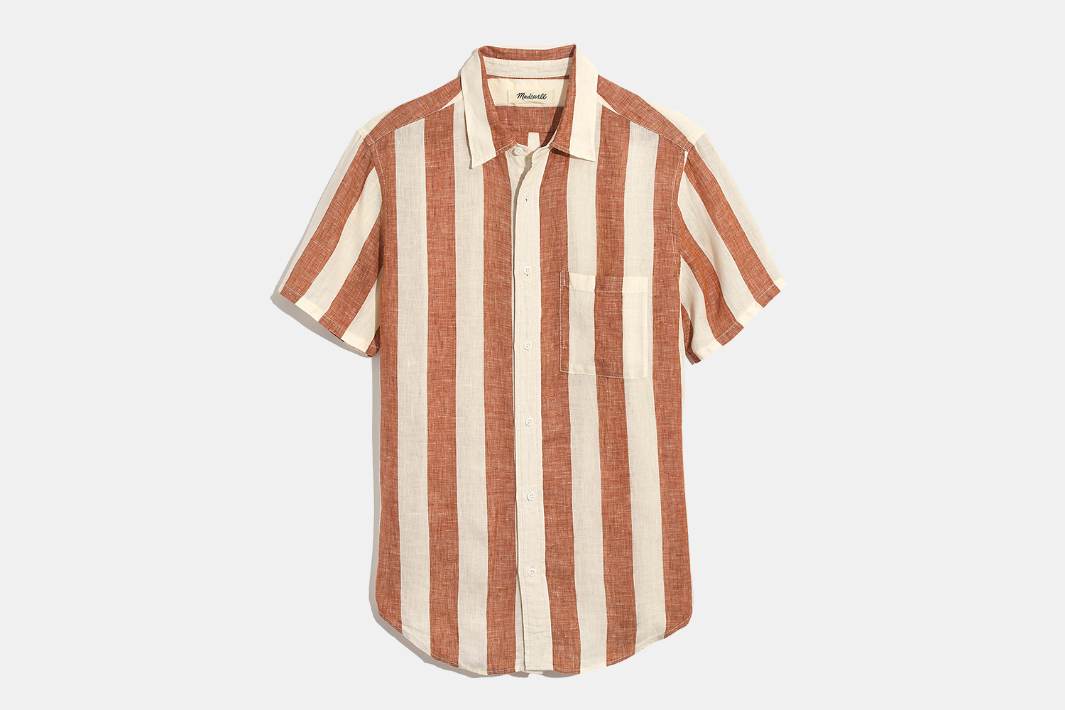 Madewell Men Linen Short-Sleeve Perfect Shirt in Watkins Stripe