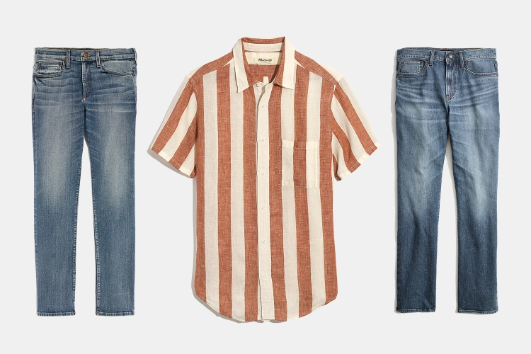 Madewell Men linen short-sleeve shirt and two pairs of denim jeans
