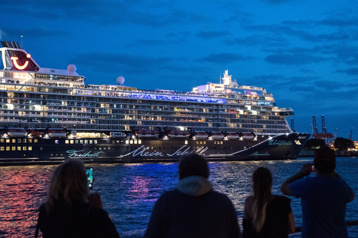 Germany's TUI Cruises ship Mein Schiff 2 leaving port on July 24, 2020