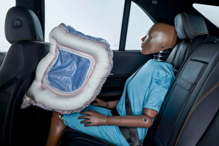 Back seat airbags in the new Mercedes-Benz S-Class luxury sedan