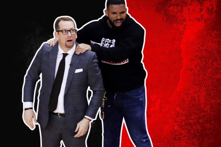 Nick Nurse gets a back rub from Drake