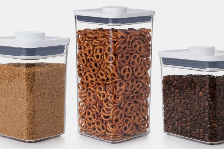 OXO Pop Containers with baking supplies, snacks and coffee