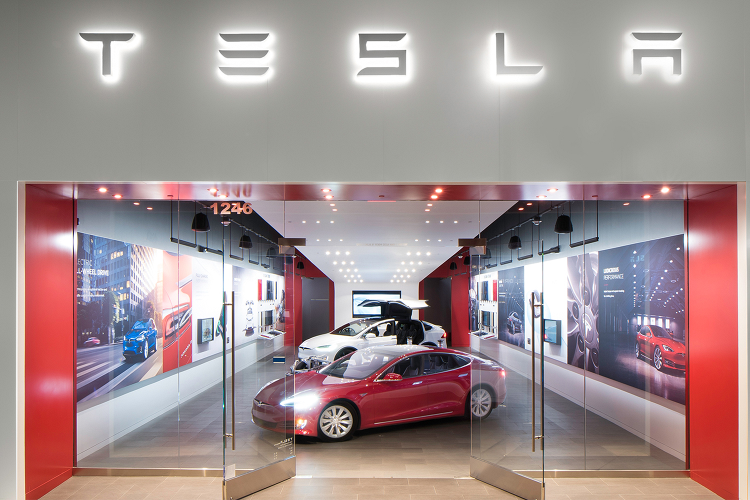Tesla electric vehicle storefront in Walnut Creek