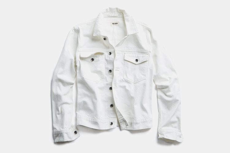 Todd Snyder white jean jacket in Japanese stretch selvedge denim