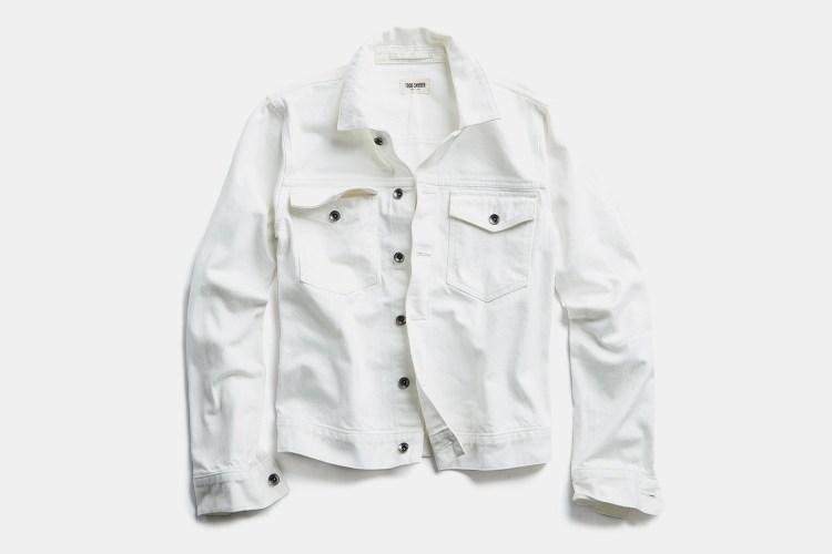 Todd Snyder white jean jacket in Japanese stretch selvedge denim