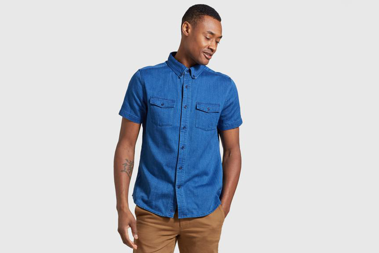 United By Blue Indigo Short Sleeve Button Down