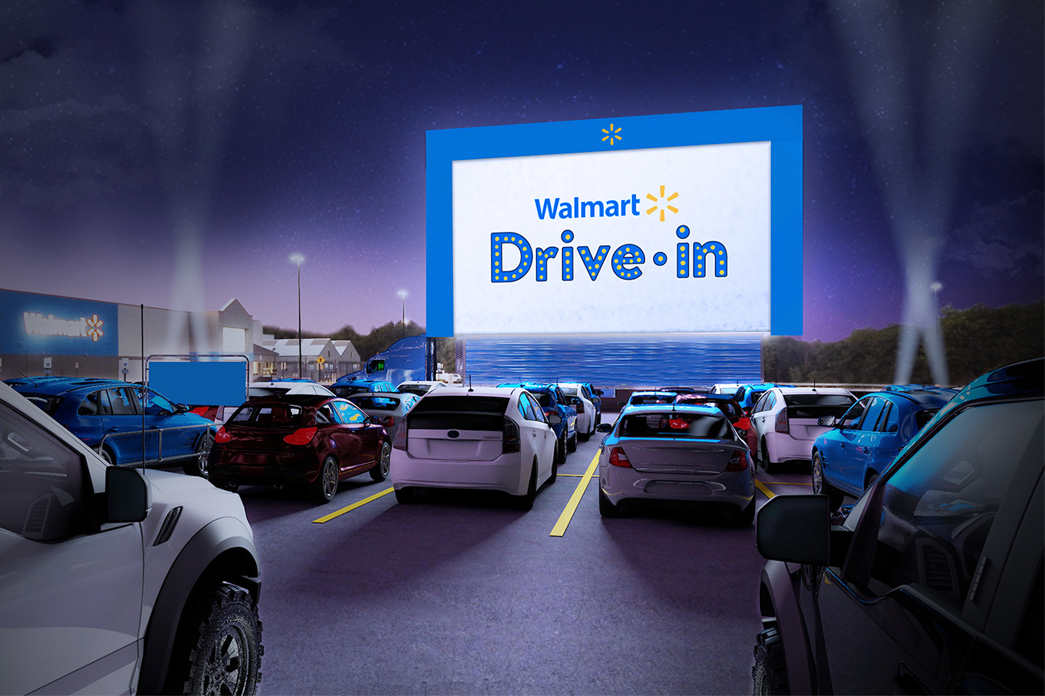 Walmart drive-in movie theater in the store parking lot
