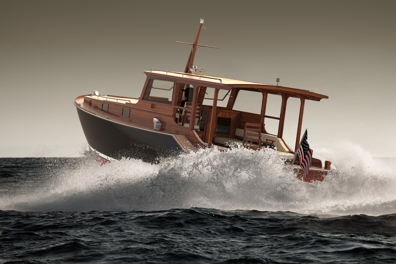 Rendering of Wheeler Yacht Company's new Wheeler 38, a modern version of Hemingway's boat Pilar