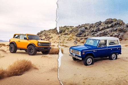 A 2021 two-door Ford Bronco and a vintage Bronco