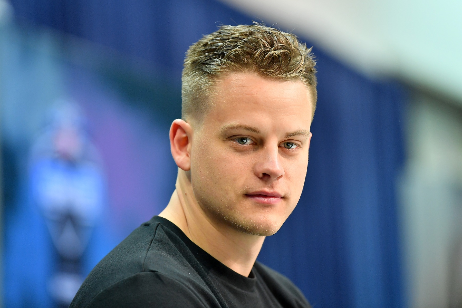 Joe Burrow during the first day of the NFL Scouting Combine. (Alika Jenner/Getty)