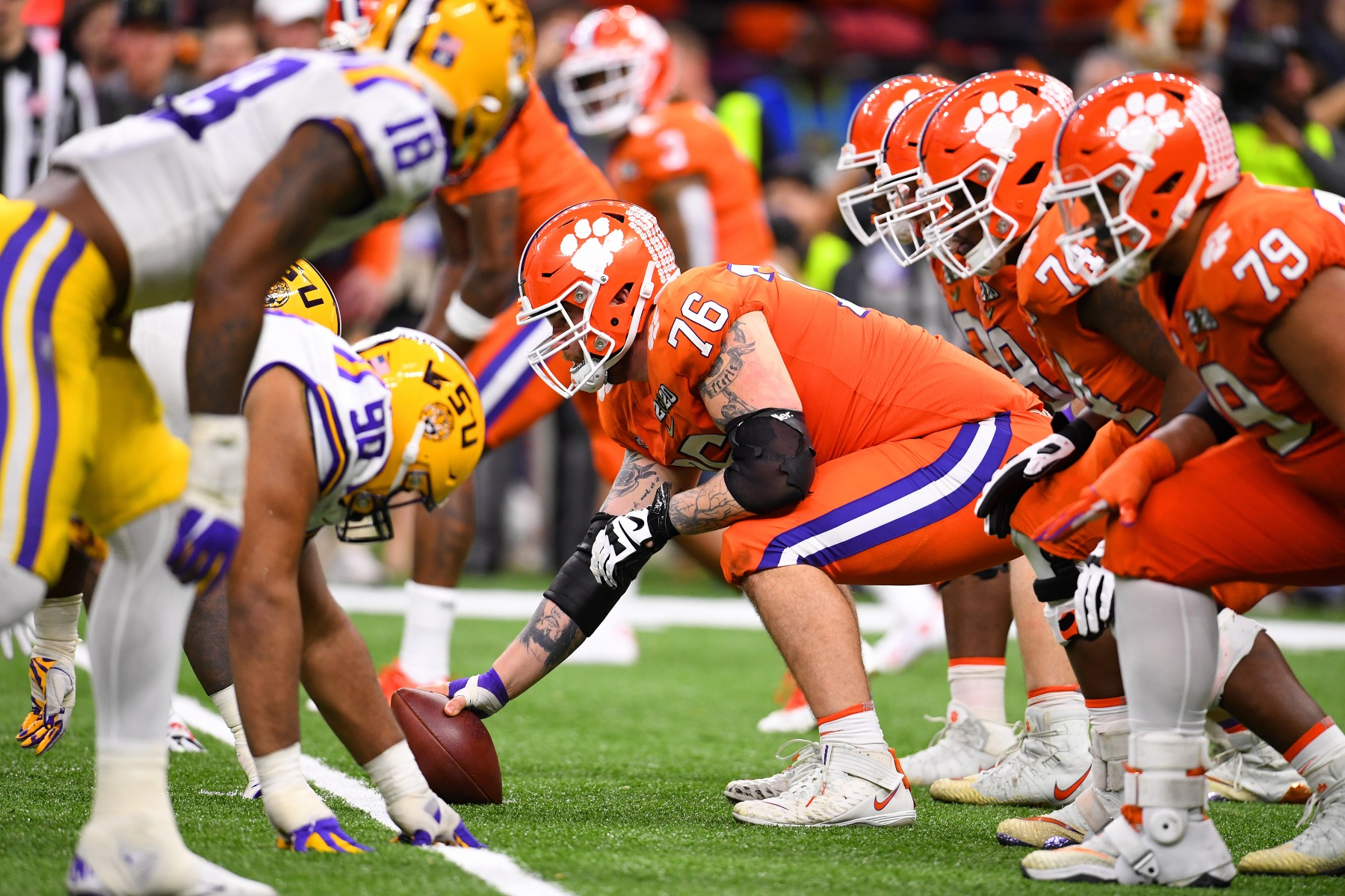 The Clemson Tigers prepare to snap the ball against the LSU Tigers. (Jamie Schwaberow/Getty)