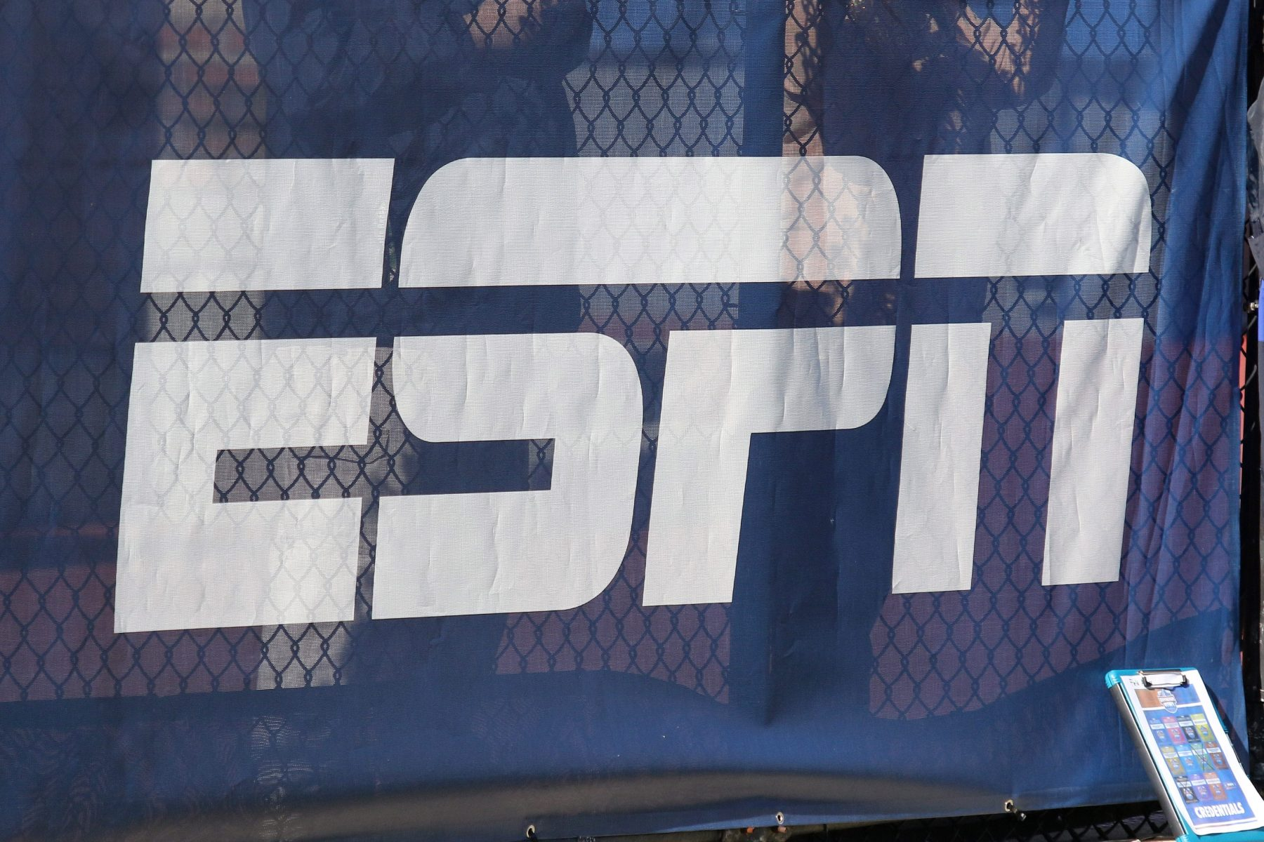 The ESPN logo on display at the Birmingham Bowl in 2018