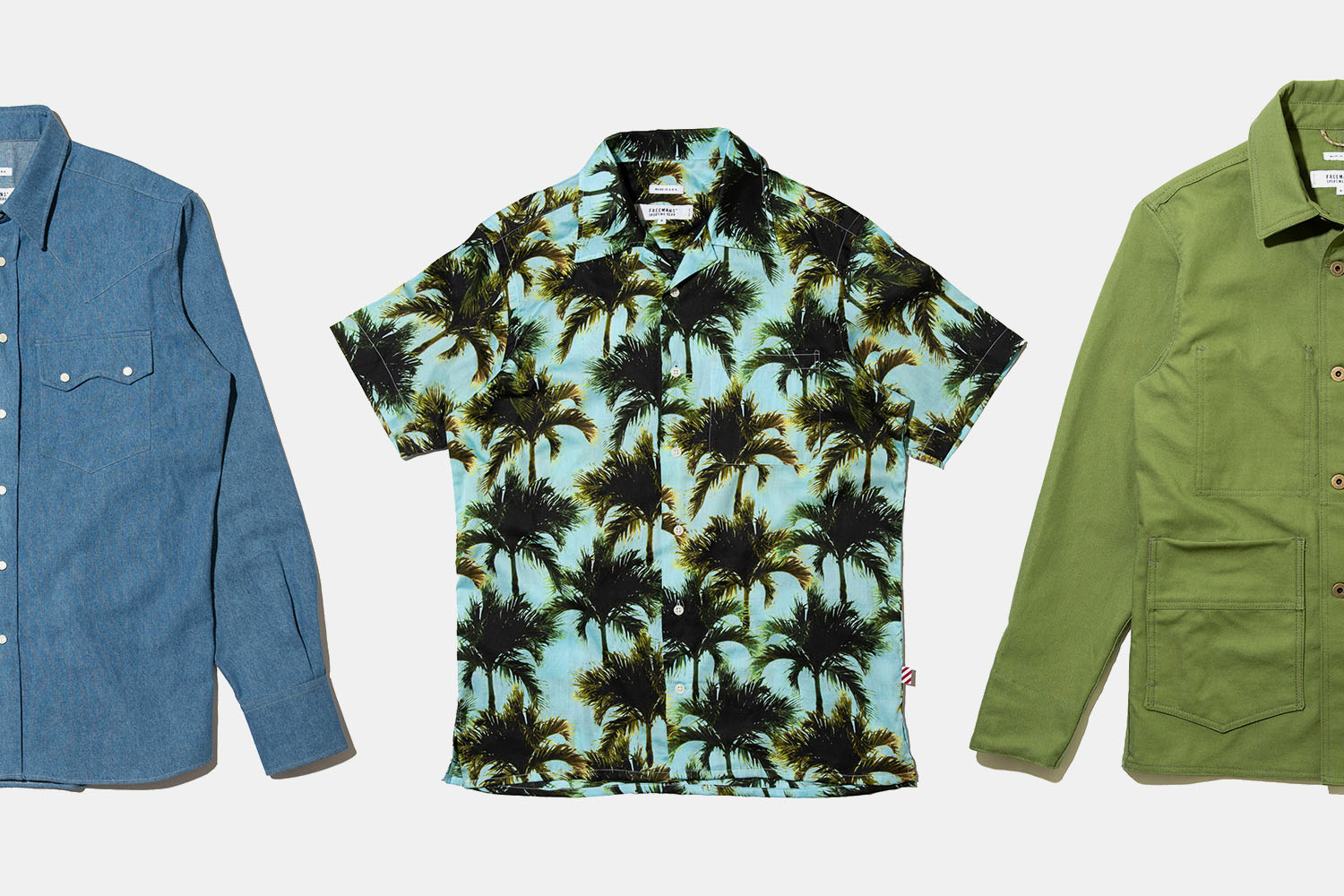 Freemans Sporting Club palm tree shirt, chore jacket and denim shirt
