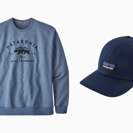 Patagonia crewneck sweatshirt and baseball cap