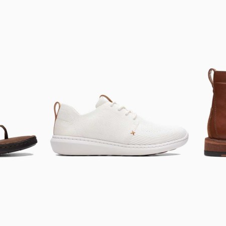 A lineup of Clarks sandals, sneakers, boots