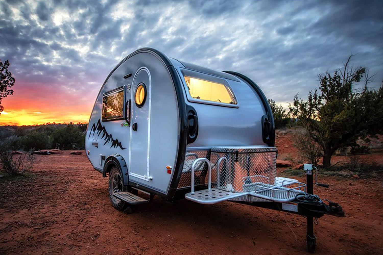 nüCamp RV TAB teardrop trailer in the outdoors