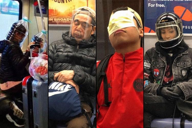 New York City subway riders wearing makeshift COVID-19 face masks