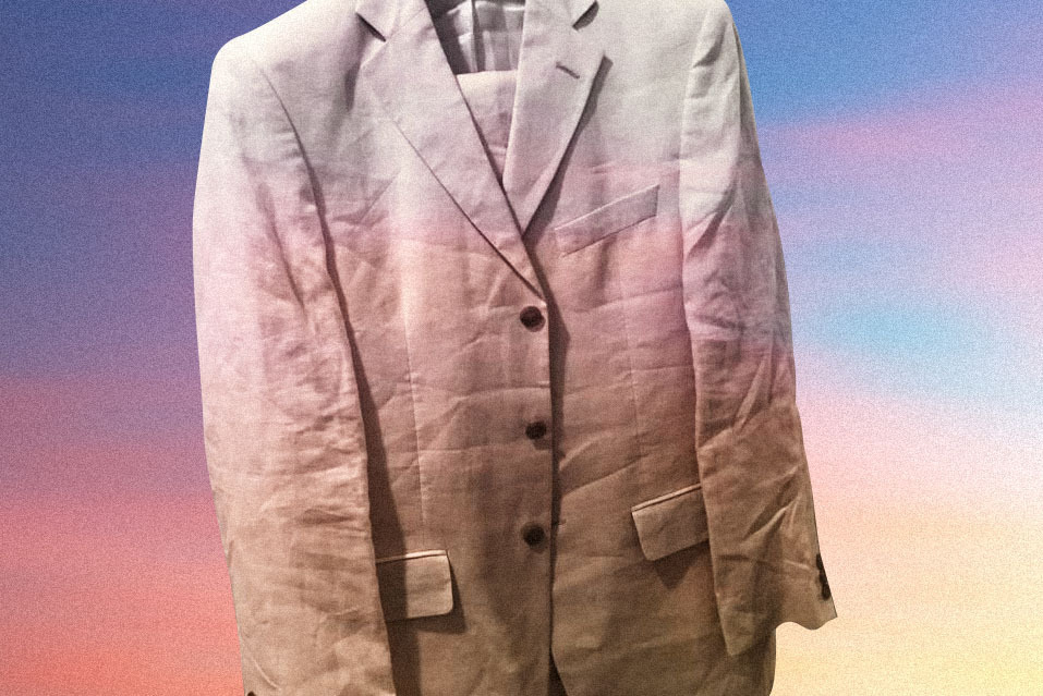 A linen suit is a popular choice for summer events.