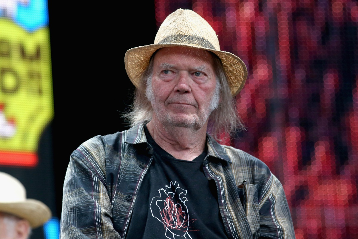 Neil Young attends a press conference for Farm Aid 34
