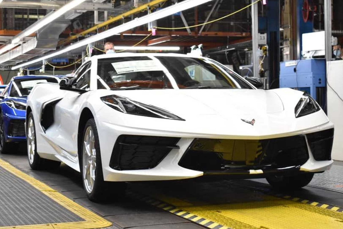 The 1,750,000th Chevrolet Corvette on the Bowling Green assembly line at GM