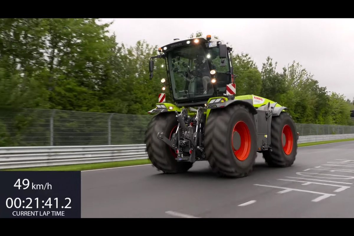 The Claas Xerion 5000 TRAC VC tractor racing on Germany's Nürburgring Nordschleife