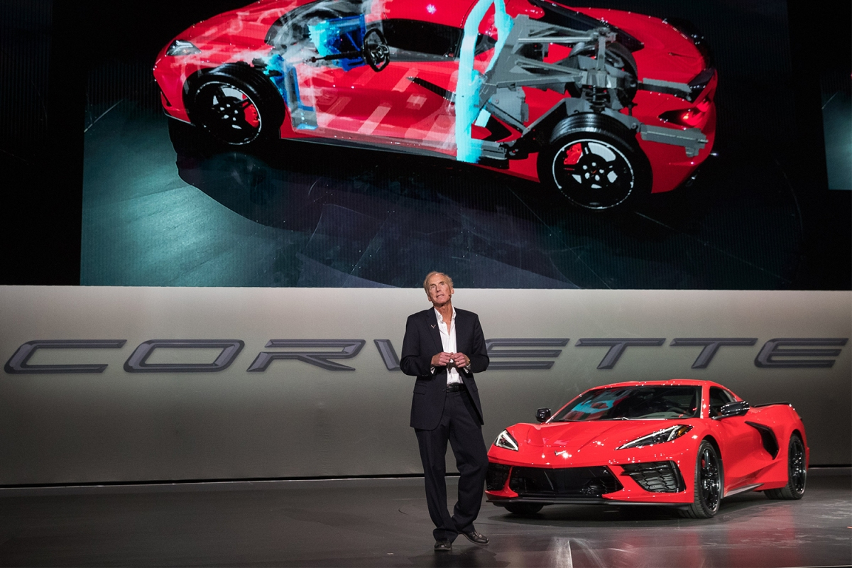 Executive Chief Engineer Tadge Juechter introduces the 2020 Chevrolet Corvette Stingray in July 2019