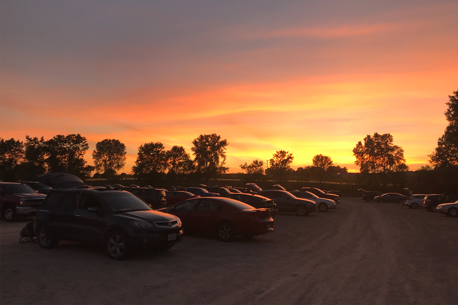 Sunset at the Vali-Hi Drive-In movie theater near Minneapolis, MN