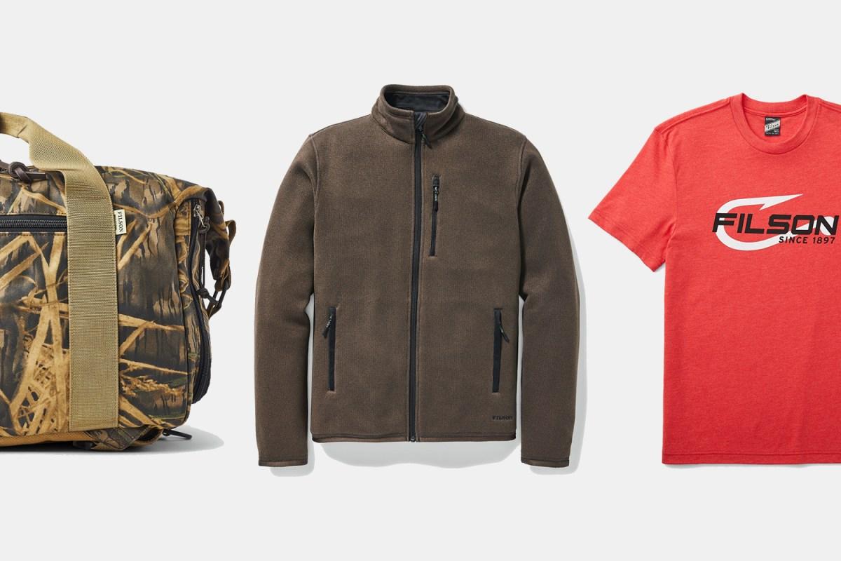 A Filson x Mossy Oak collab duffel bag, fleece jacket and graphic T-shirt