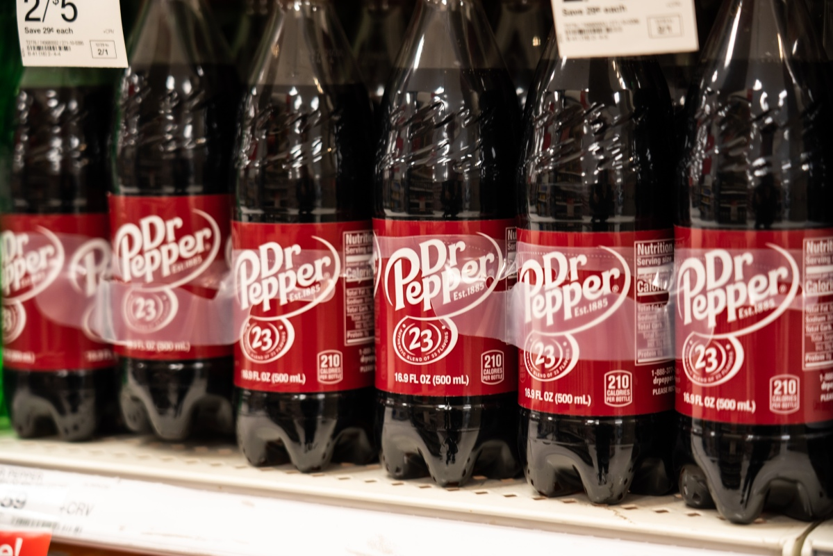 Bottles of Dr Pepper seen in a Target superstore
